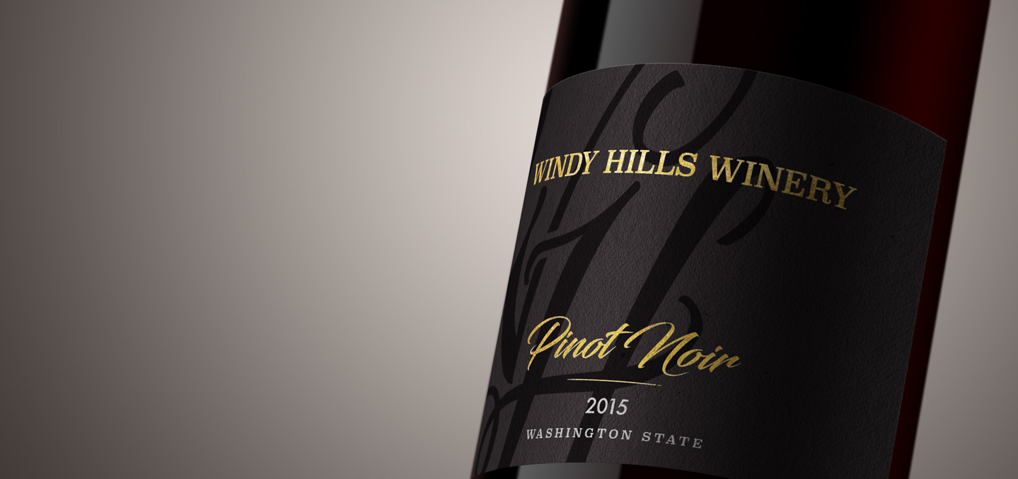 Windy Hills wine label on bottle of wine