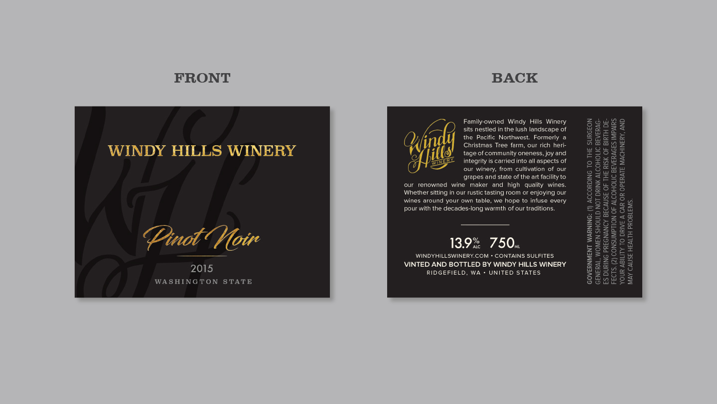 Windy Hills wine bottle labels front and back